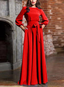 Vintage Bohemia 3/4 Sleeve O-Neck Long Pleated Dress