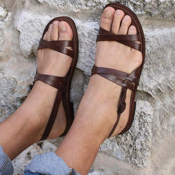 Casual Solid Color Buckle Strap Summer Beach Sandals