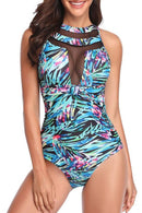 Sheinlove Mesh Panel Cutout Back One Piece Swimsuit