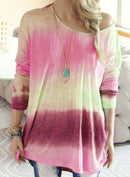 Gradient Color Round Neck Versatile T-shirt