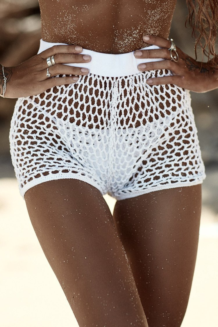 Holiday Net Crochet Cover Up Shorts