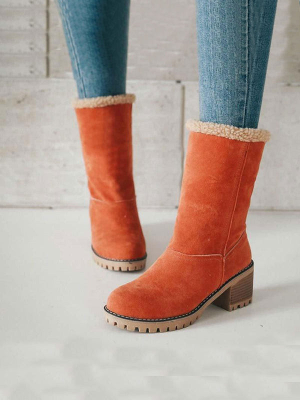 Warm Square Heels Ankle Snow Boots