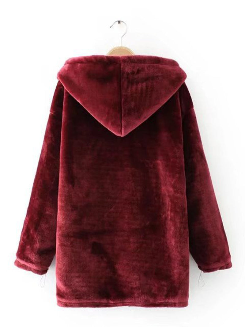 Paneled Long Sleeve Coats With Hoodie