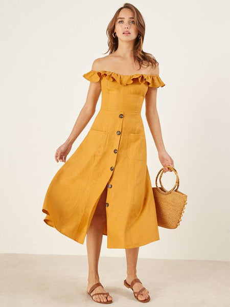 Sexy Off-the-shoulder Falbala Button Front Midi Dress