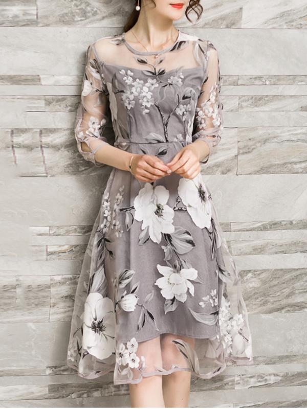 Gray A-line Women Daily Elegant 3/4 Sleeve Printed Floral Elegant Dress