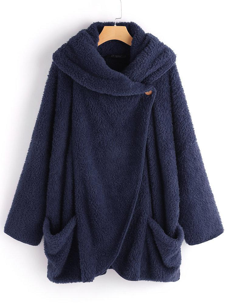 Casual Women Turtleneck Long Sleeve Big Pockets Cloak Coat