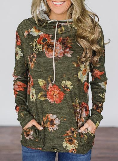 Floral Cowl Neck Tunic Top