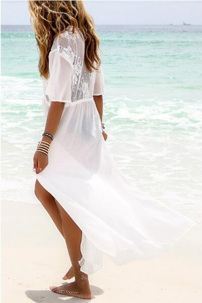 Beachsissi Side Slit White Cover Up