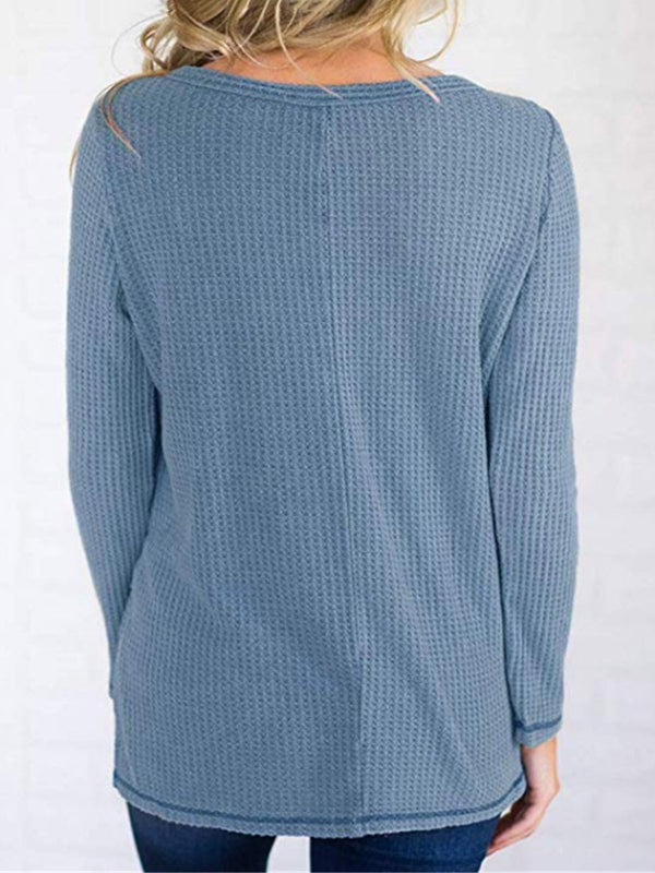 Crew Neck Long Sleeve Cotton-Blend T-Shirts