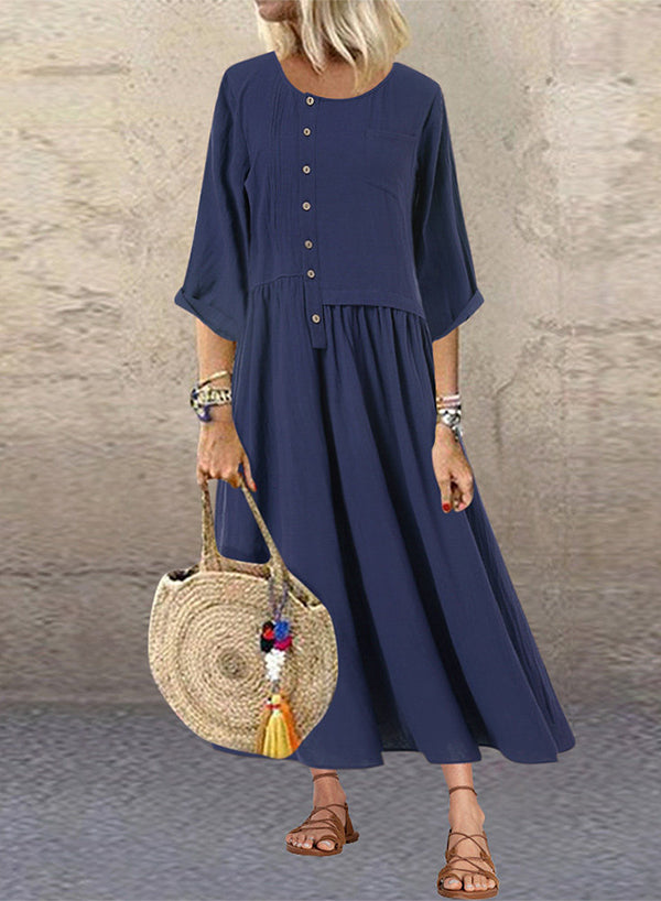 3/4 Sleeves Button Patchwork Maxi Dress