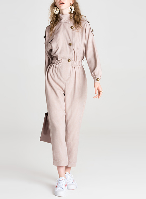 Casual Stand Neck Long Sleeve Jumpsuit