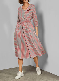 V Neck Elasticated Waist Midi Dress