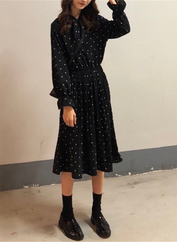 A Line Long Sleeve Dotted Midi Dress