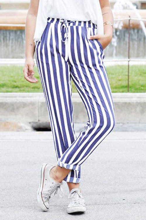 Self Belt Elastic Waist Striped Pants with Pockets