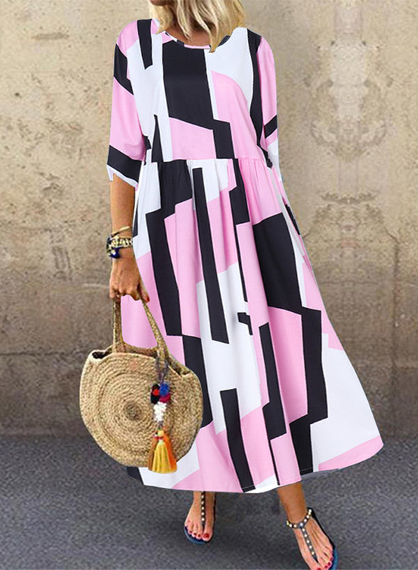 Half Sleeve Geometric Print Maxi Dress