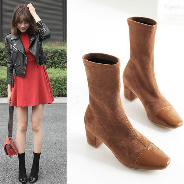 Square Head Suede Short Boots