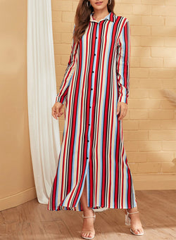 Button Colorful Striped Maxi Dress
