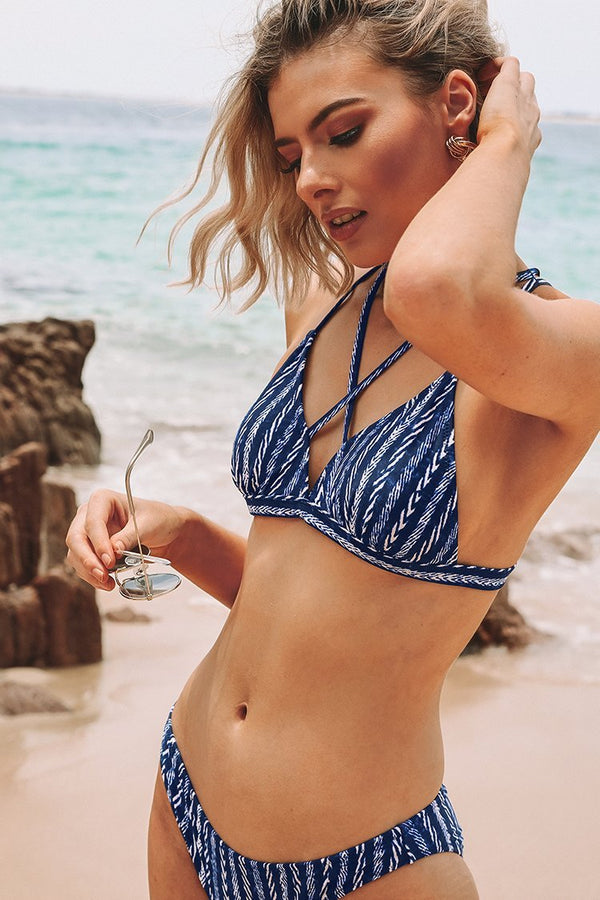 GET STRAPPY NAVY AND WHITE BIKINI