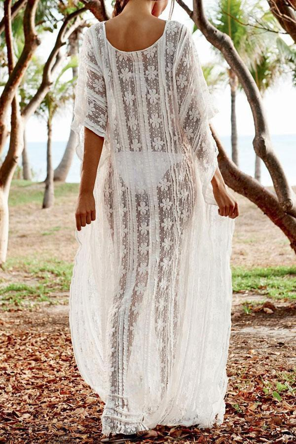 Beachsissi V Neck White Long Cover Up