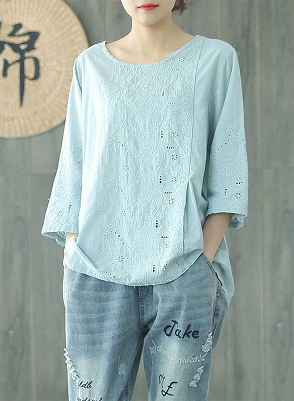 3/4 Sleeves Lace Solid Color Hallow Blouse