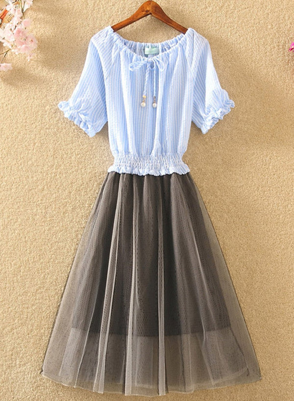 Blouse and Bubble Skirt Dress