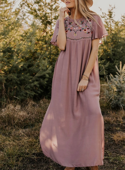 Giotto Embroidered Maxi Dress
