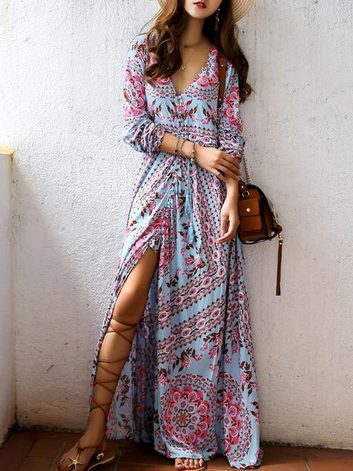 3/4 Sleeves Split-Front Beach Maxi Bohemian Dress