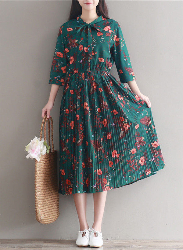 Tie Front Floral Pleated Midi Dress