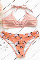 Orange Fanta Halter Bikini Set