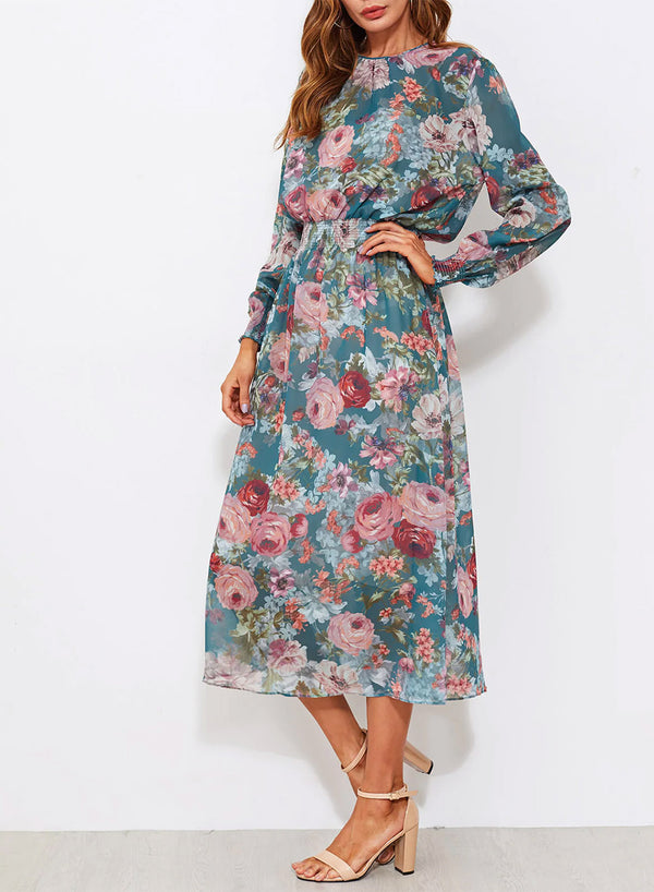 Round Neck Trim Floral Midi Dress