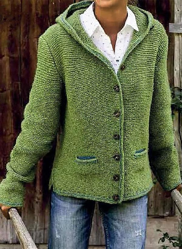 Hooded Long Sleeve Knitted Cardigan Sweater