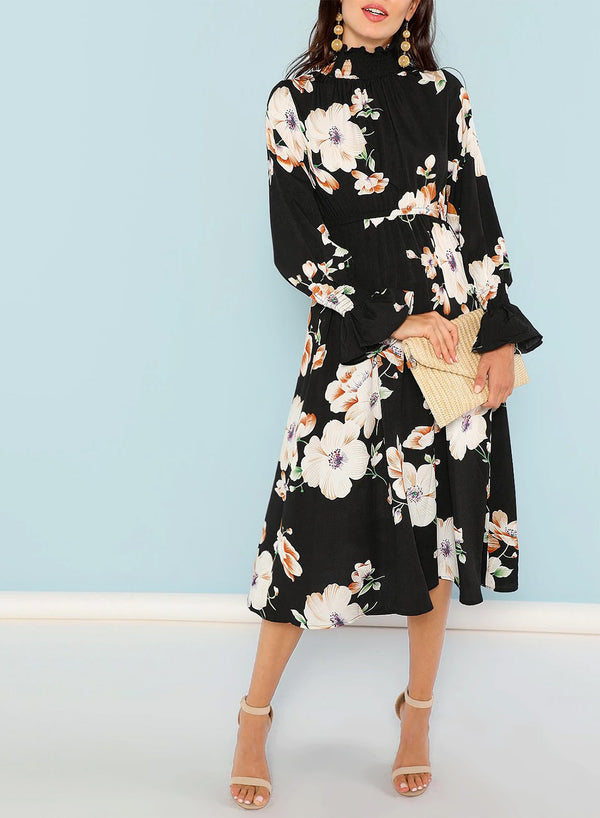 Stand Collar Flounce Sleeve Floral Midi Dress