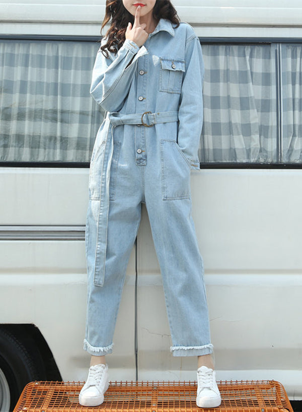 Autumn Spring Long Sleeve Denim Jumpsuit