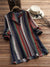 Band Collar Loose Fitting Color Block Striped Long Sleeve Blouse