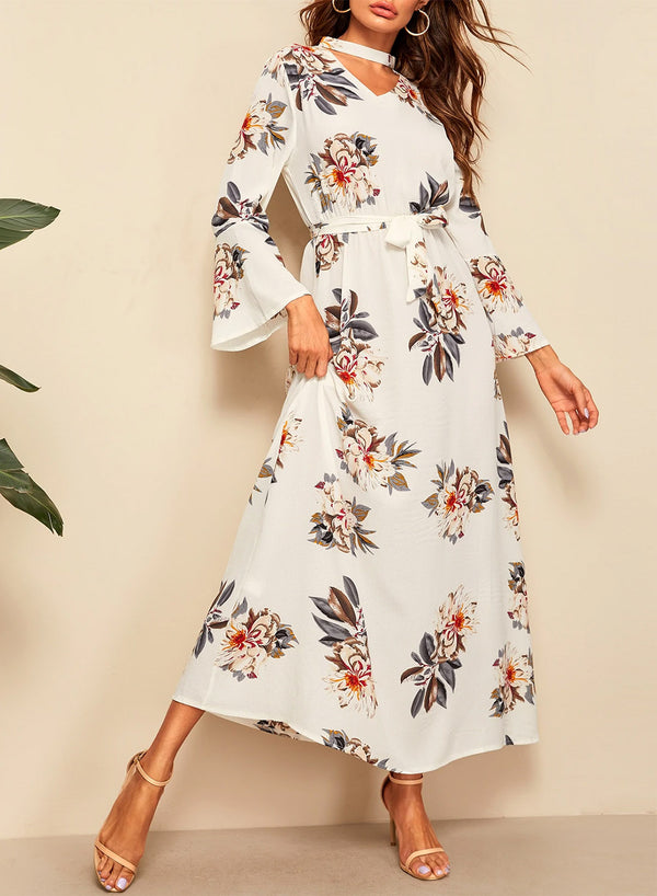 Flounce Sleeve Floral Print Belted Maxi Dress