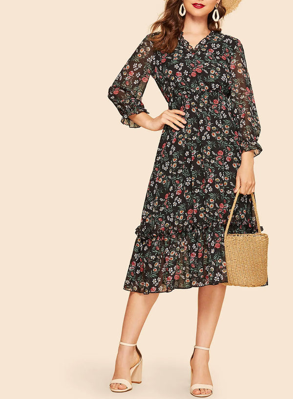 Floral Frill High Waist Midi Dress