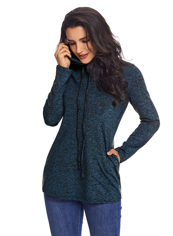 Cozy Cowl Neck Drawstring Sweatshirt