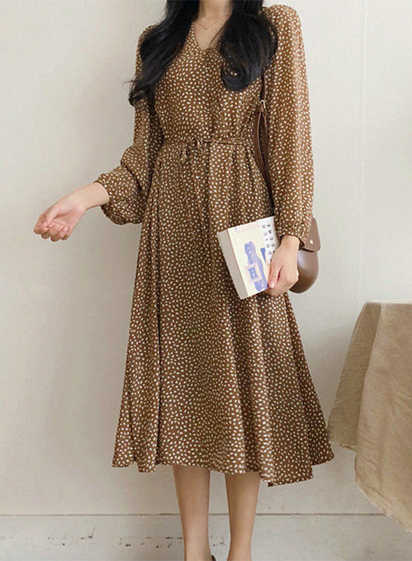 Long-Sleeve Dotted A-Line Midi Dress