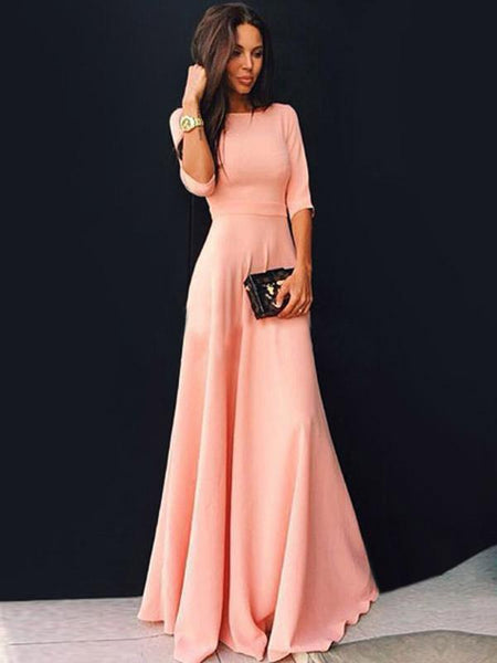 Pretty Pink Three Quarter Sleeve Maxi Dress