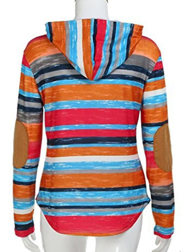 Multicolor Striped Casual Hoodie