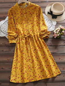 3 Colors Crew Neck Buttoned Long Sleeve Dress