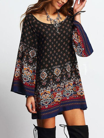 Vintage Printed Flared Sleeve Round-neck Mini Dress