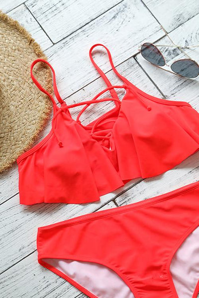 GirlOnStyle Bohemian Lace-up Printing Bikini Set