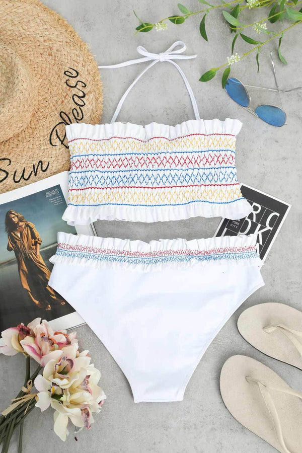 GirlOnStyle Colorful Zigzag Smocked Bikini Set