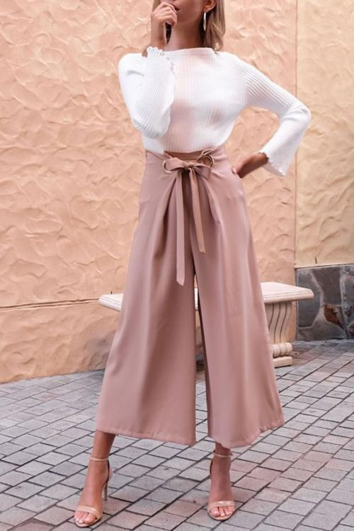 Casual Loose Pink Belted Pants