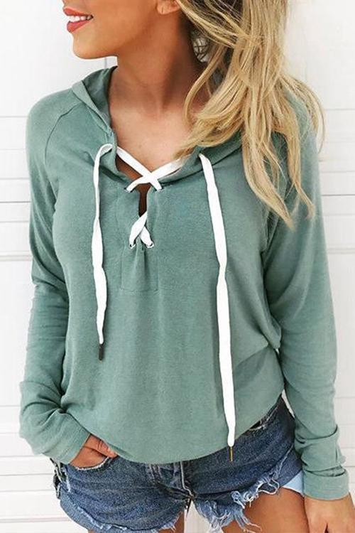 Hooded Lace-up Green Hoodies