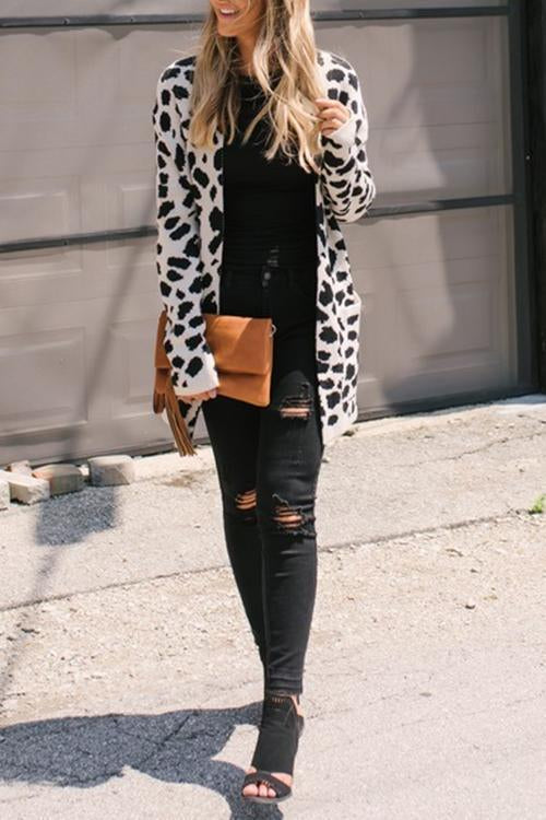 Animal Leopard Printed Cardigan Sweaters