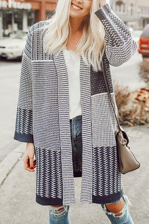 Always Boho Geometric Printed Cardigan