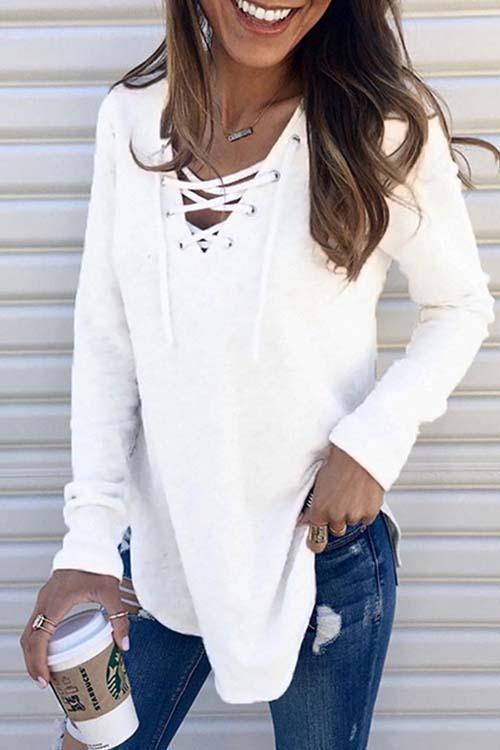 Casual String Lace-up Sweaters