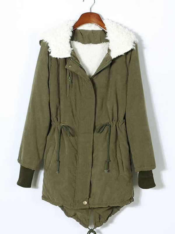 Women's long Winter Coats Hooded Fleece Jackets